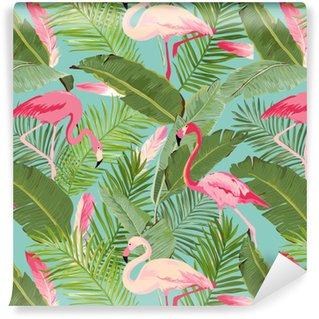 Flamant rose vectorielle continue et modèle floral d'été. pour fonds d'écran, arrière-plans, textures, textiles, cartes.