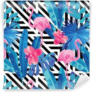 Papier peint autocollant sur mesure Flamingo et orchidées modèle, fond géométrique