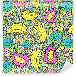 Papier peint autocollant sur mesure Modèle sans couture avec dessin animé doodle banane. fond de fruits. illustration vectorielle