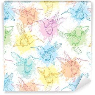 Papier peint autocollant sur mesure Modèle sans couture de vecteur avec colibri volant ou colibri dans le style de contour et taches dans la couleur pastel sur le fond blanc. fond d'élégance avec oiseau tropical exotique pour la conception de l'été.