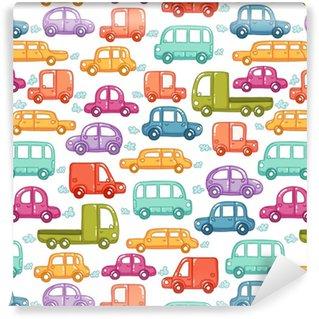 Papier peint autocollant sur mesure Modèle sans couture de voitures doodle