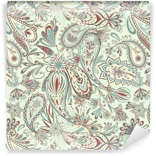 Papier peint autocollant sur mesure Motif vintage abstrait avec des fleurs décoratives, des feuilles et des motifs paisley dans un style oriental.