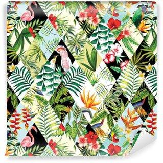 Papier peint autocollant sur mesure Patchwork tropical seamless background