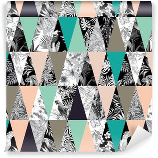 Patchwork tropical seamless background