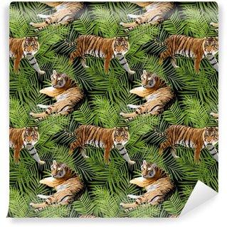 Tigres en fleurs tropicales et fond de feuilles de palmier, modèle sans couture en vecteur
