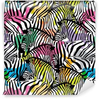 Zèbre avec les animaux de la faune silhouette colorée, modèle sans couture. texture de tissu à la mode des animaux sauvages, illustration.