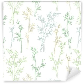 Papier peint vinyle sur mesure Bambou plante graphique couleur verte modèle sans couture croquis illustration vecteur
