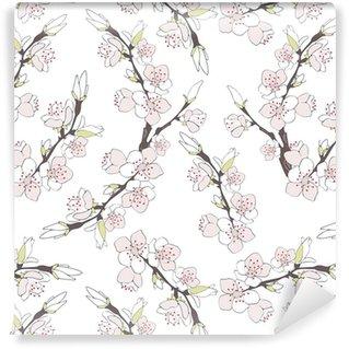 Papier peint vinyle sur mesure Branche de cerisier en fleurs isolé sur fond blanc.