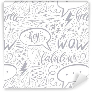 Papier peint vinyle sur mesure Calligraphie main modèle sans couture de lettrage. signes positifs, étoile, coeur, bulles, formes géométriques. parfait pour l'impression, le textile, les t-shirts, les étuis de téléphone. conception de surface moderne. illustration vectorielle