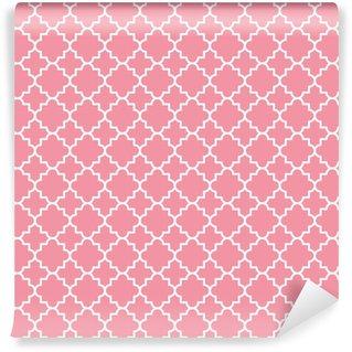 Papier peint vinyle sur mesure Contour de modèle de treillis quadrilobe traditionnel. fond de quatre-feuilles rose. illustration vectorielle