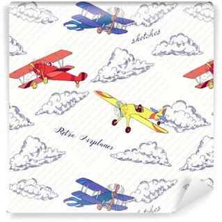 Papier peint vinyle sur mesure Couleurs de seaml avions-02