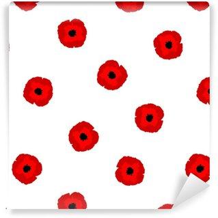 Papier peint vinyle sur mesure Fleurs de pavot stylisation transparente motif floral rouge sur fond blanc, vecteur, eps 10