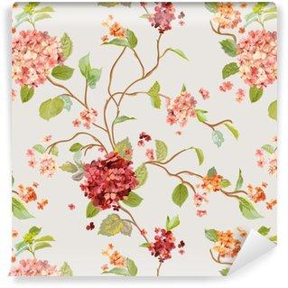 Papier peint à motifs vinyle Fleurs vintage - floral fond d'hortensia - modèle sans couture