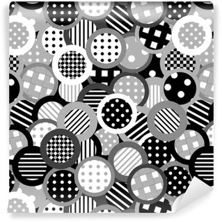 Papier peint vinyle sur mesure Fond noir et blanc avec des cercles