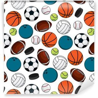Papier peint lavable sur mesure Balles et rondelles pour le modèle sans couture de jeux d'équipe