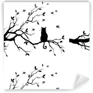 Chat sur un arbre avec des oiseaux, vecteur