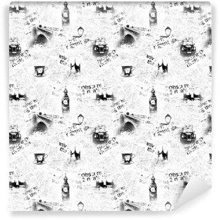 Papier peint lavable sur mesure Fond de journal londres noir et blanc