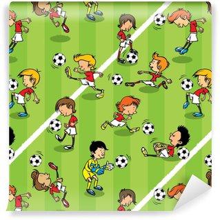 Papier peint lavable sur mesure Modèle de football sans couture enfants