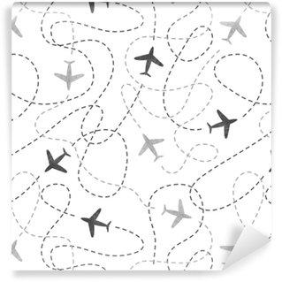 Papier peint lavable sur mesure Modèle sans couture avec des avions aquarelles. voyager autour du concept du monde. fond de vecteur.