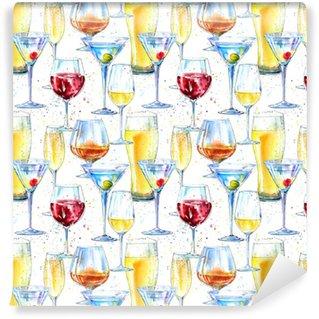 Modèle sans couture d'un champagne, cognac, vin, martini, bière et verre. peinture d'une boisson alcoolisée et splash .watercolor main dessinée illustration.beverage border.white background.