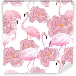 Papier peint lavable sur mesure Modèle sans couture de flamants roses