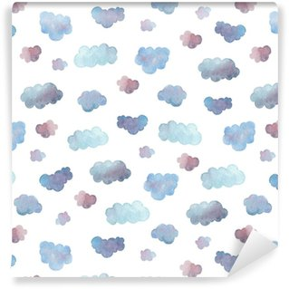 Modèle sans couture de nuages bleus doux peint à l'aquarelle.