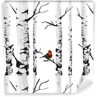 Papier peint lavable sur mesure Oiseau de bouleaux, dessin vectoriel avec des éléments modifiables.