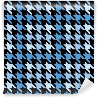 Papier peint lavable sur mesure Pied-de-poule à carreaux en bleu