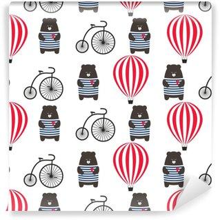 Porter avec vélo et modèle sans couture de montgolfière. teddy mignon dessin animé avec illustration vectorielle de transport rétro. enfant dessin style fond d'aventure. conception pour le tissu, le textile etc.