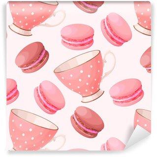 Papier peint lavable sur mesure Teacups et Macarons Seamless