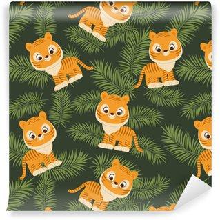 Papier peint lavable sur mesure Tigre dans les feuilles tropicales