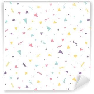 Papier peint vinyle sur mesure Memphis modèle sans couture avec des confettis de triangle