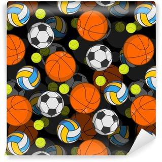 Papier peint vinyle sur mesure Modèle sans couture 3d de balle de sport. décoration de boules. basketball un