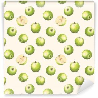 Papier peint vinyle sur mesure Modèle sans couture aquarelle dessinés à la main avec des pommes vertes sur le fond blanc. arrière-plan répété.