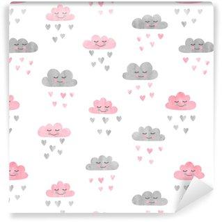 Papier peint vinyle sur mesure Modèle sans couture avec des nuages aquarelles et la pluie de coeurs. illustration vectorielle