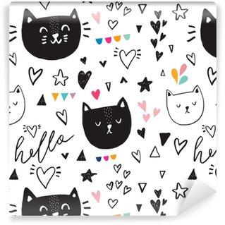 Papier peint vinyle sur mesure Modèle sans couture avec kitty mignon noir