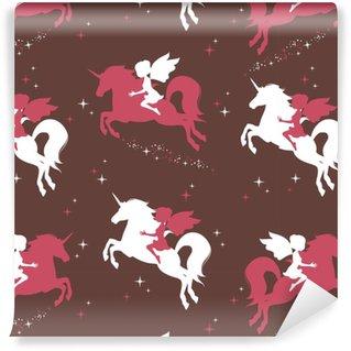 Papier peint vinyle sur mesure Modèle sans couture avec la silhouette de la belle licorne et fée sur fond sombre. illustration vectorielle