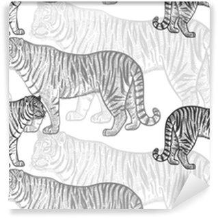 Papier peint vinyle sur mesure Modèle sans couture avec tigre