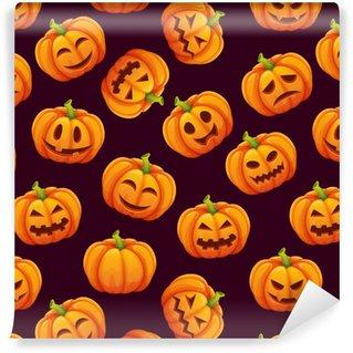 Papier peint vinyle sur mesure Modèle sans couture d'halloween avec différentes émotions drôles de citrouilles