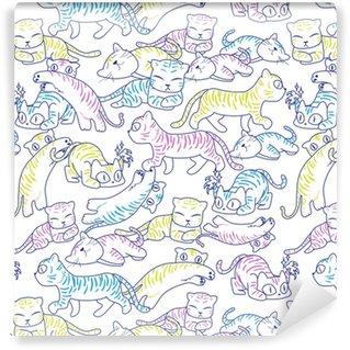 Papier peint vinyle sur mesure Modèle sans couture de chat sauvage
