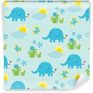 Papier peint vinyle sur mesure Modèle sans couture de douche de bébé avec éléphant mignon, papillon, fleurs et soleil sur fond bleu adapté comme fond d'écran, papier brouillon et carte postale