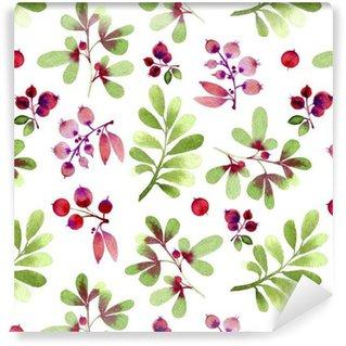 Papier peint vinyle sur mesure Modèle sans couture de feuilles et de baies aquarelle vert et rose.