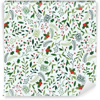 Papier peint vinyle sur mesure Modèle sans couture de Noël avec le GUI, les branches d'épinette, les feuilles vertes et les baies.