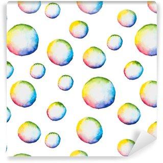 Papier peint vinyle sur mesure Modèle sans couture de vecteur avec des bulles aquarelles