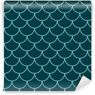Papier peint vinyle sur mesure Modèle sans couture queue de sirène. texture de peau de poisson. fond de tillable pour le tissu de fille, conception de textile, papier d'emballage, maillots de bain ou papier peint. fond de queue de sirène bleue avec écaille de poisson sous l'eau.
