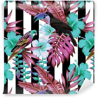 Papier peint vinyle sur mesure Motif d'oiseaux et de fleurs tropicales, fond rayé