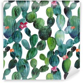 Papier peint à motifs vinyle Motif de cactus dans un style aquarelle