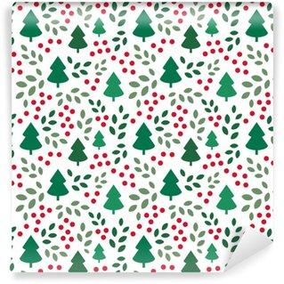 Papier peint vinyle sur mesure Motif de Noël sans fin avec des arbres de Noël