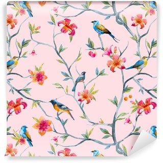 Papier peint vinyle sur mesure Motif floral aquarelle
