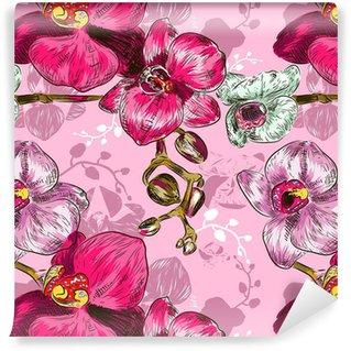 Papier peint vinyle sur mesure Motif orchidée Seamless